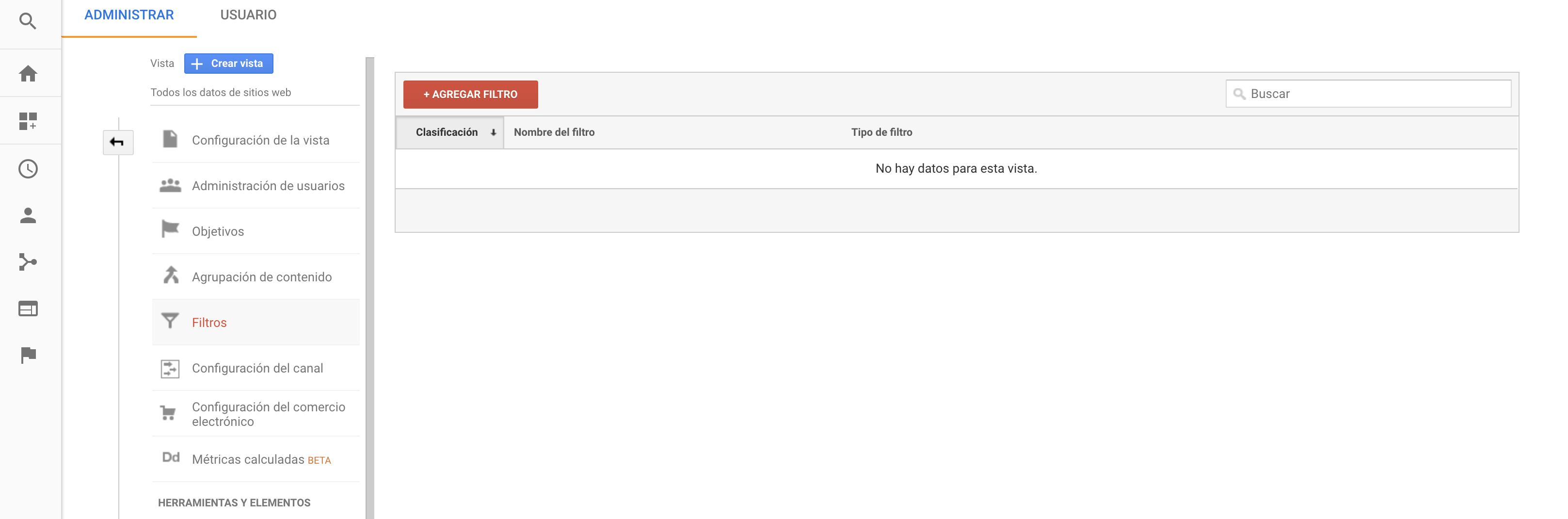 Crear filtros en Google Analytics