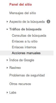 acciones manuales google webmasters tools