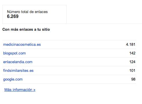 Cantidad de enlaces google webmasters tools