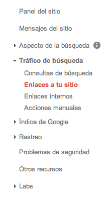 Enlaces a tu sitio google webmasters tools