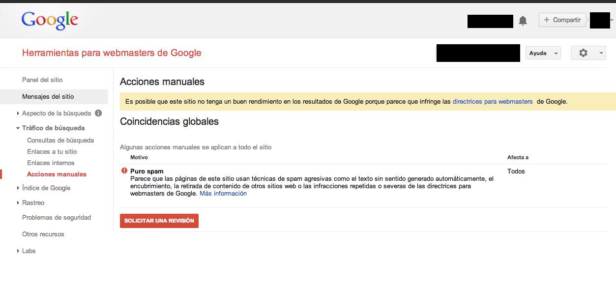 Sancion por webspam contenido