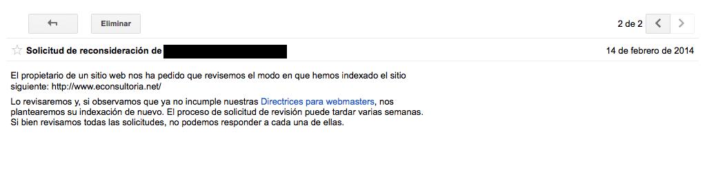 Solicitud de reconsideracion webspam