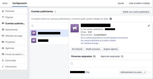 añadir cuentas publicitarias facebook for business