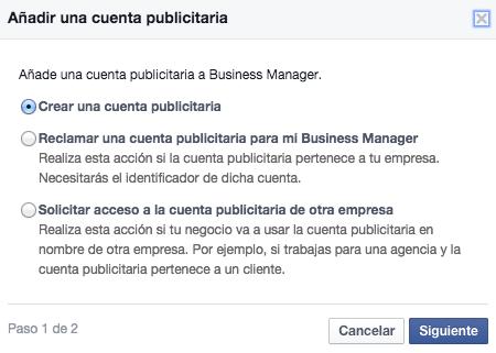 agregar cuenta publicitaria facebook for business