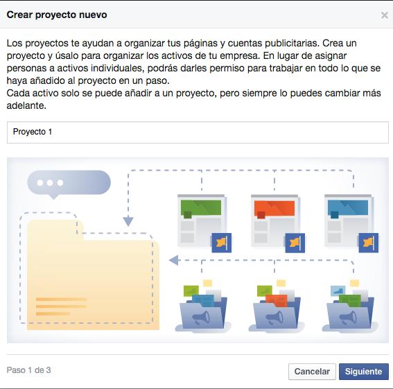 agregar proyecto facebook for business