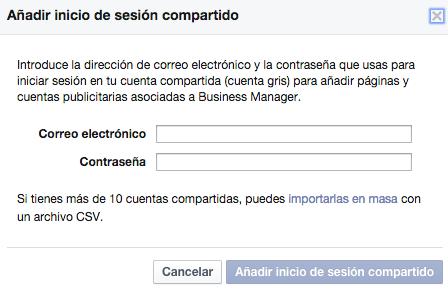 añadir cuentas grises facebook for business
