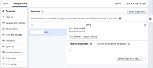 configuracion facebook for business