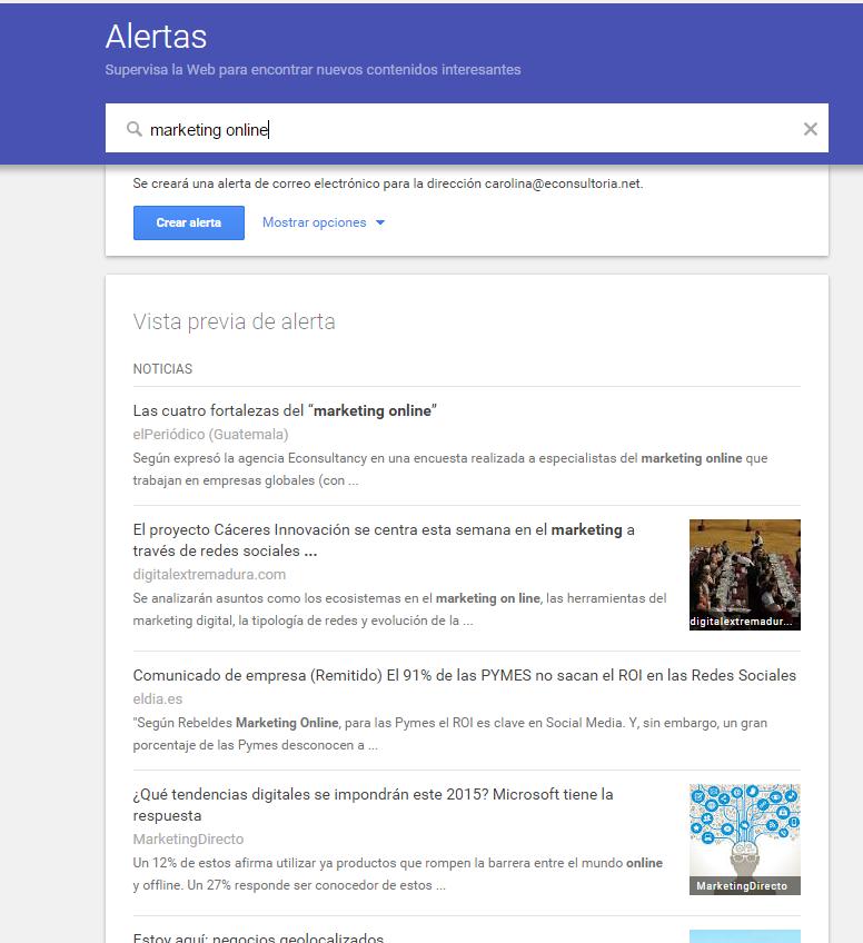 Alertas de Google controla la Web en busca de contenido nuevo e interesante